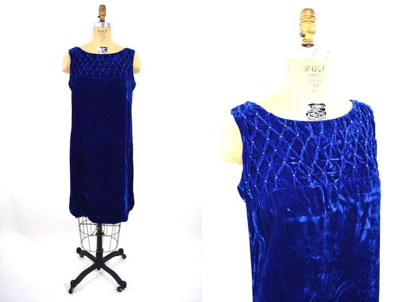 Vintage 1960s Dress  Royal Blue Velvet Smocked Cocktail Dress image 0