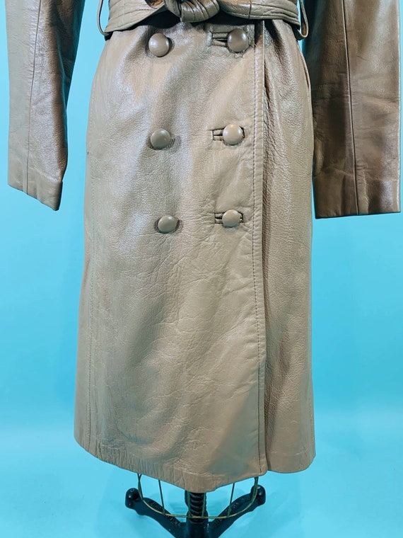 Vintage 1970s Leather Jacket   Taupe Faux Leather… - image 7