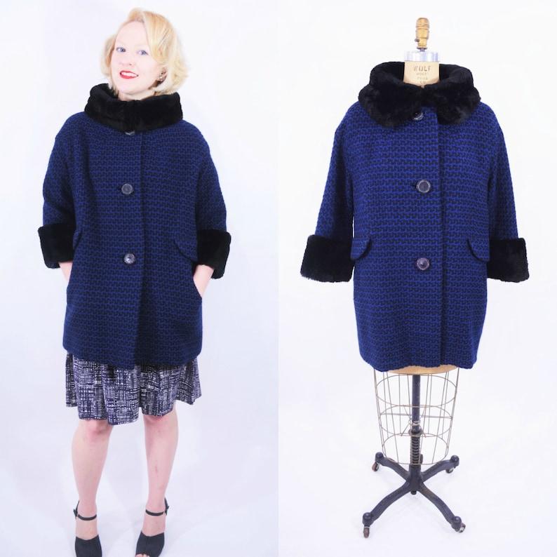 Vintage 1960s Tweed Coat  Royal Blue Black Fur Collar Mod image 0