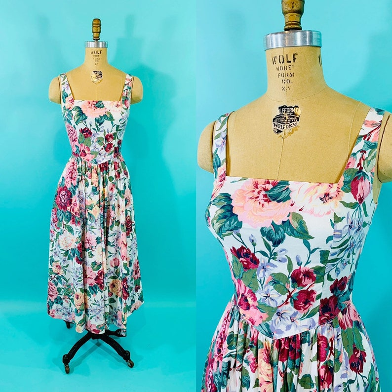 Vintage 1980s Floral Sundress  1950s Style Square Neck image 0