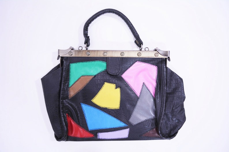 Vintage 1970s Purse  Patchwork Black Multicolored Top Handle image 0