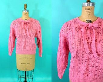 "Vintage 1980s Pink Sweater   Bubble Gum Bow Neck Flower Pot Pullover   B 42"""