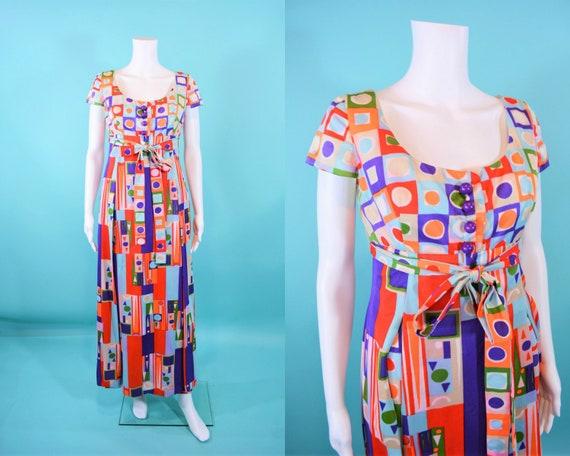 Vintage 1960s Mod Jumpsuit   AS IS Geometric Print