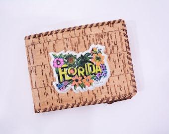 ANNIVERSARY SALE // 1980s vintage wallet | Florida whip stitch small wallet souvenir | vintage 80s wallet