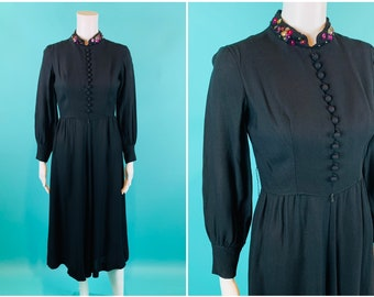 """Vintage 1970s Black Jumpsuit   70s Does 40s Long Sleeve Cropped One Piece   W 27"""""""