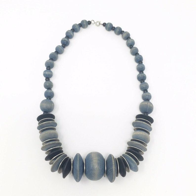 Vintage 1970s Necklace  Blue Wood Bead Chunky Boho Necklace image 0