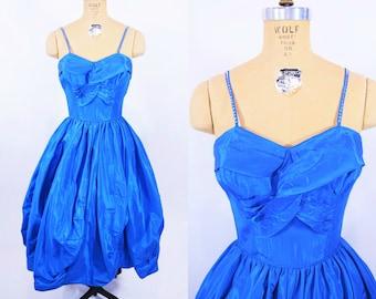"ANNIVERSARY SALE // 1950s evening dress | taffeta sapphire sweetheart rhinestone strap prom cocktail dress | vintage 50s dress | W 25"""