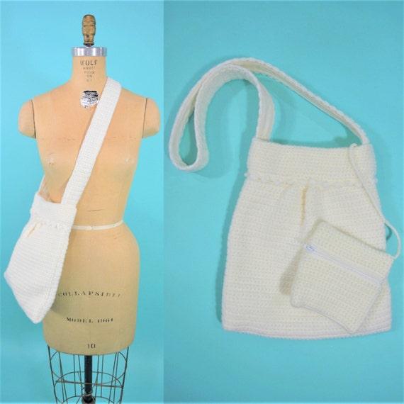 Vintage 1960s Shoulder Bag | White Crochet Handmad