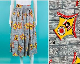 "Vintage 1950s Novelty Skirt   Cuckoo Clock Wood Print Yellow Gray Skirt   W 24"""