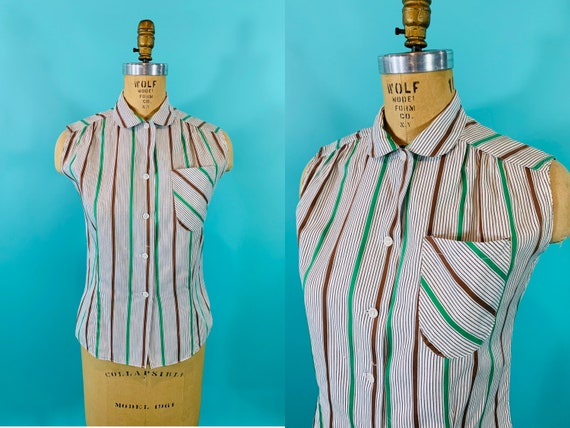 Vintage 1950s Striped Blouse | Sleeveless Green Bl