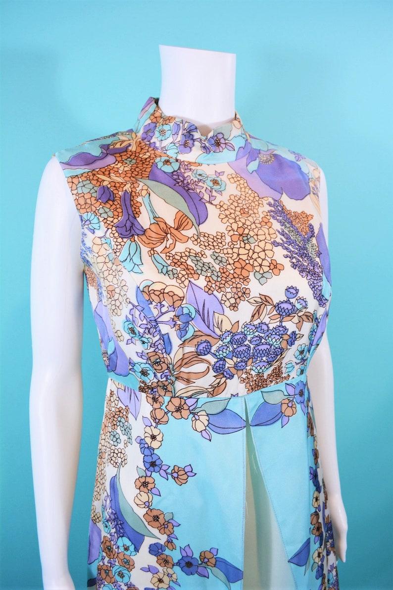 W 30 Vintage 1960s Floral Jumpsuit Purple Blue Watercolor Palazzo Jumpsuit