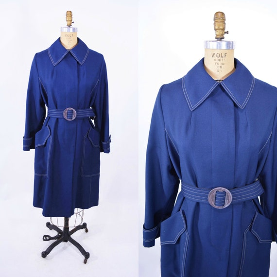 Vintage 1960s Trench Coat | Navy Blue Belted Light