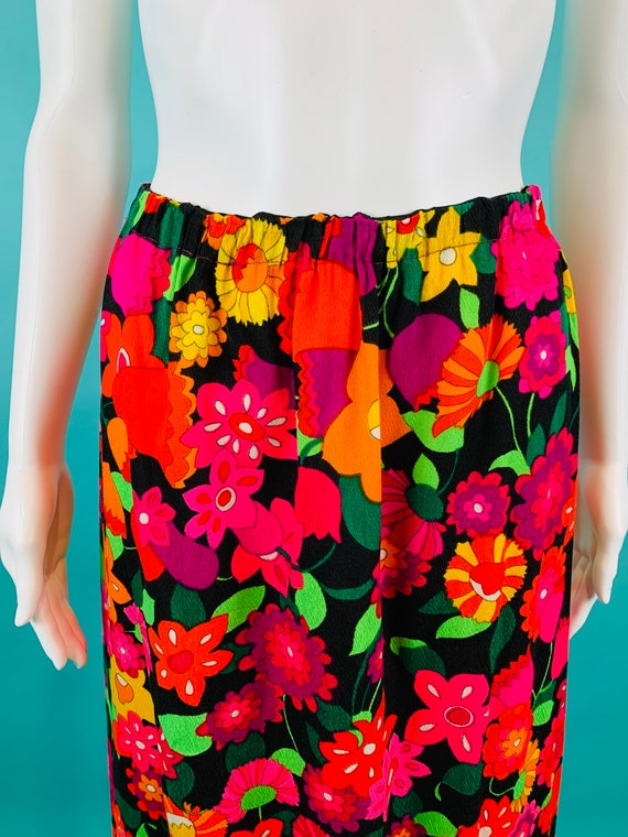 Vintage 1970s Neon Skirt | Handmade Tulip Print T… - image 3