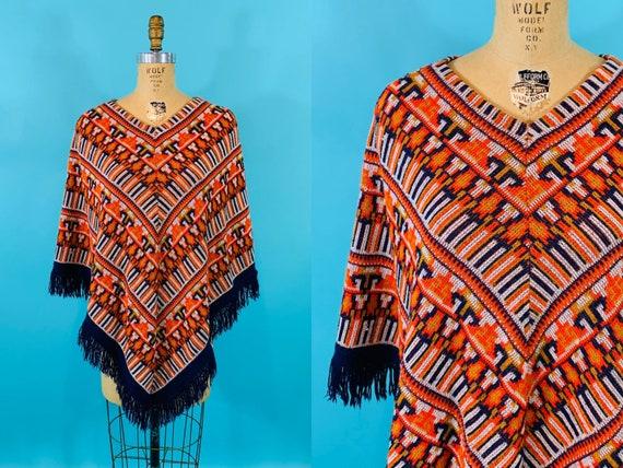Vintage 1970s Knit Cape | Bohemian Navy Ikat Sweat