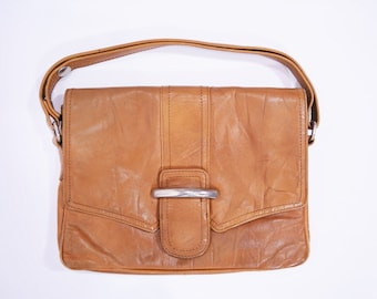 Vintage 1970s Purse   Small Brown Leather Macy Associates Made in Italy Handbag