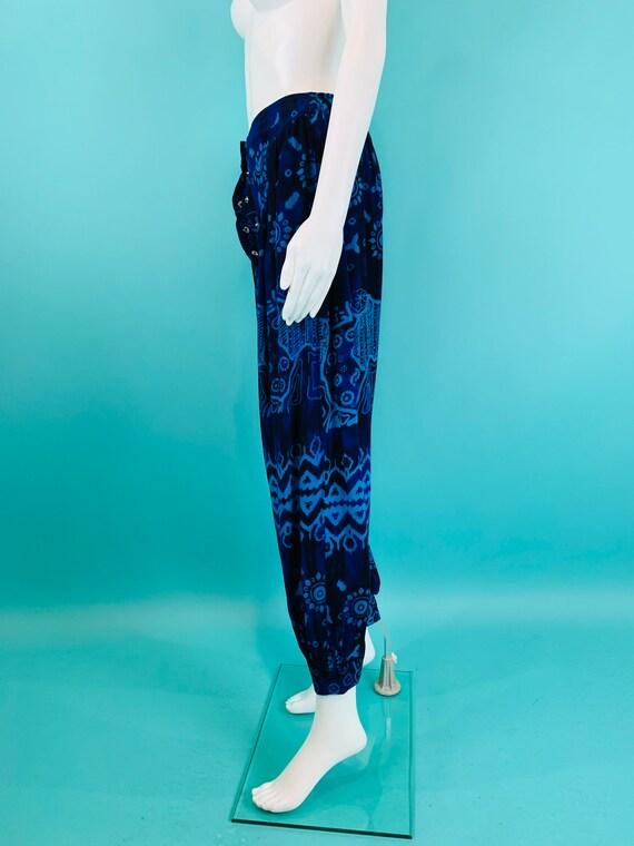 Vintage 1990s Harem Pants | Black Blue Printed Ta… - image 8