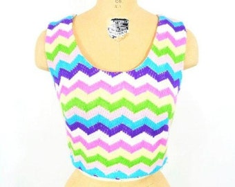 "Vintage 1960s Chevron Top   Rainbow Striped Knit Crop Top   W 28"""