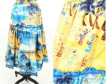 "Vintage 1970s Hawaiian Skirt   Tropical Novelty Print Cotton Skirt   W 22"""
