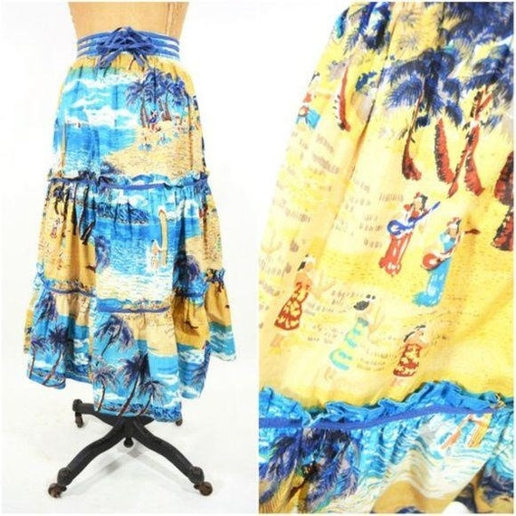 Vintage 1970s Hawaiian Skirt | Tropical Novelty Pr