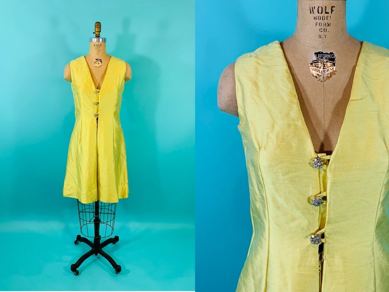 Vintage 1960s Silk Dress  AS IS Bright Yellow Shantung image 0