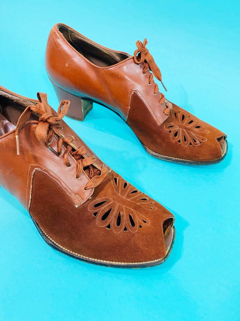 Easi-Gait Brown Lace Up Oxfords Vintage 1930s Rust Heels
