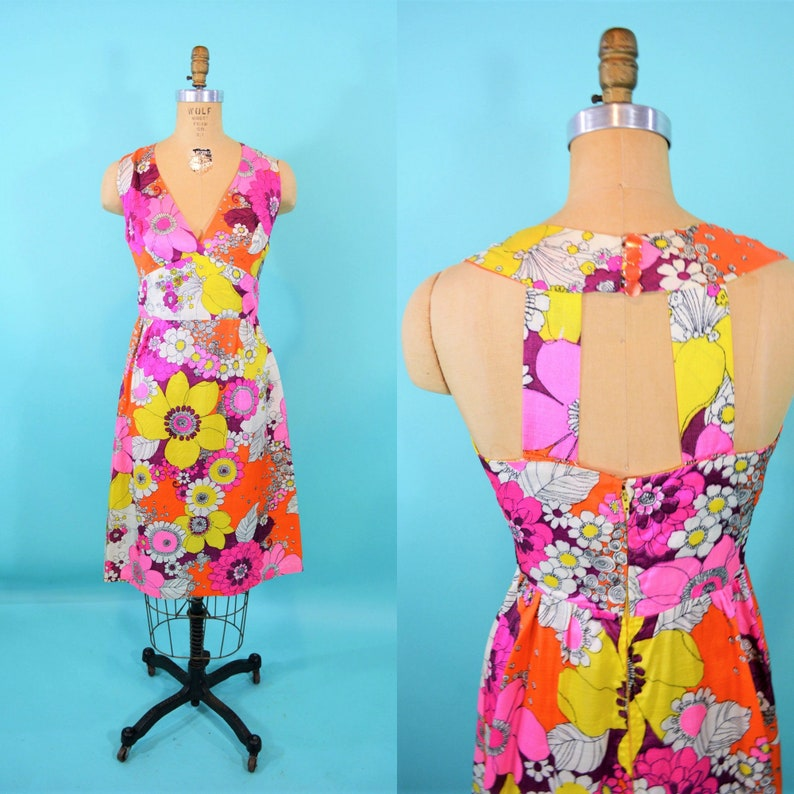 Vintage 1960s Neon Dress  Psychedelic Daisy Print Cocktail image 0