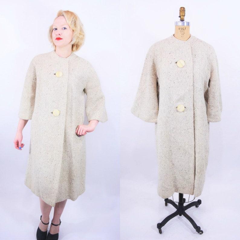 Vintage 1960s Tweed Coat  Yellow Tan Large Button Collarless image 0