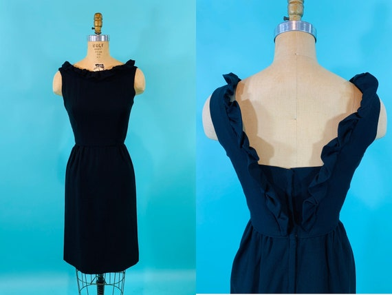 Vintage 1950s Black Dress | Little Black Ruffle Bo