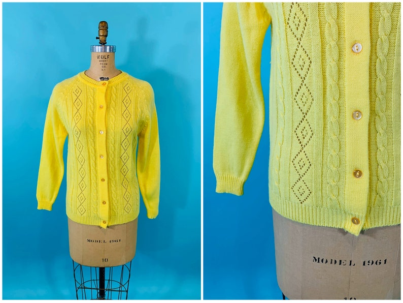 Vintage 1960s Yellow Cardigan  Bright Diamond Pointelle image 0