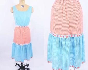 "Vintage 1960s Sundress   Plu Gingham Picnic Blue Orange Tiered Dress   W 25"""