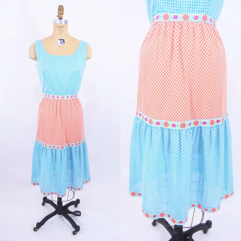 Vintage 1960s Sundress  Gingham Picnic Blue Orange Dress  W image 0