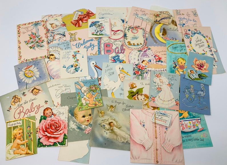 Vintage Greeting Cards  Used New Baby Lot of Cards image 0