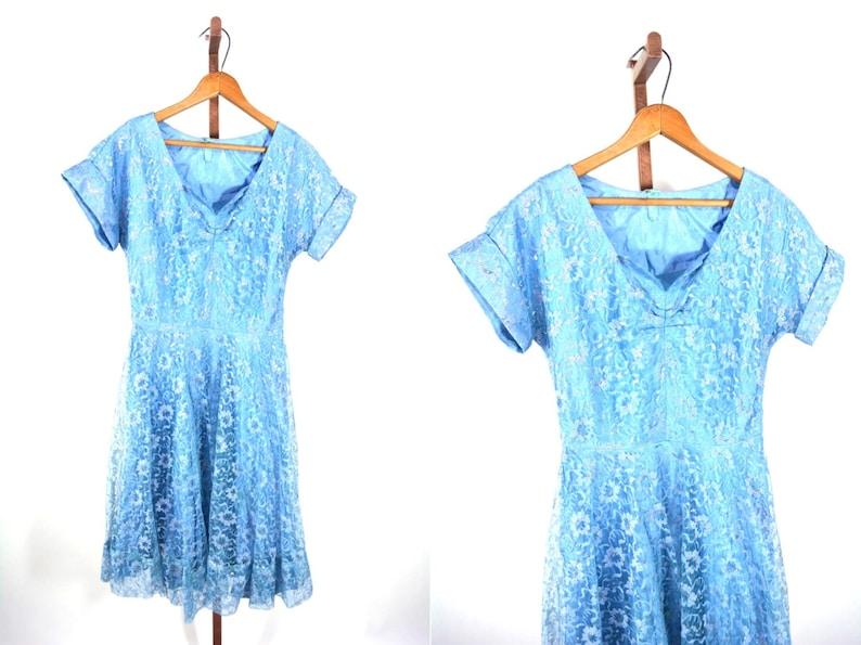 Vintage 1940s Lace Dress  Blue Cinderella Party Dress  W image 0