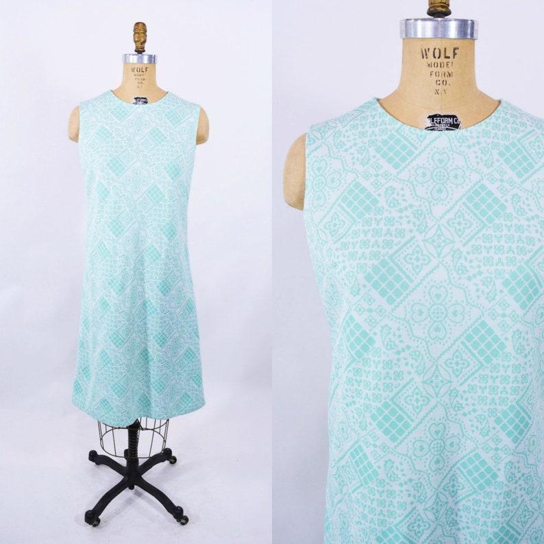 Vintage 1960s Aqua Dress  Fair Isle Knit Shift  W 35 image 0