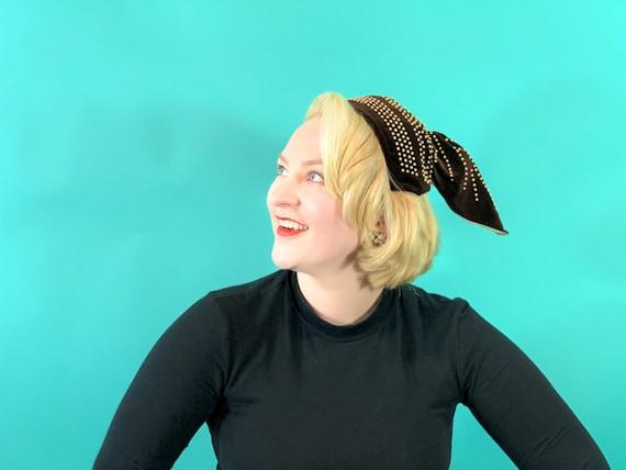 Vintage 1940s Headband   Brown Velvet Beaded Pony… - image 1