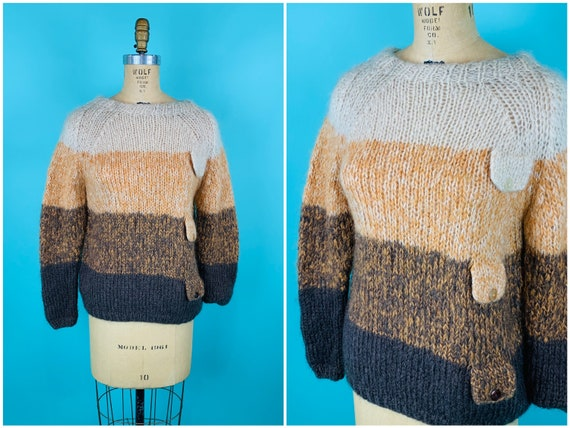 Vintage 1950s Ombre Sweater | Brown Arlene Mohair