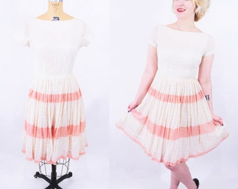 "ANNIVERSARY SALE // 1950s lace dress | cream pink stripe lace darling party dress | vintage 50s dress | W 25"""