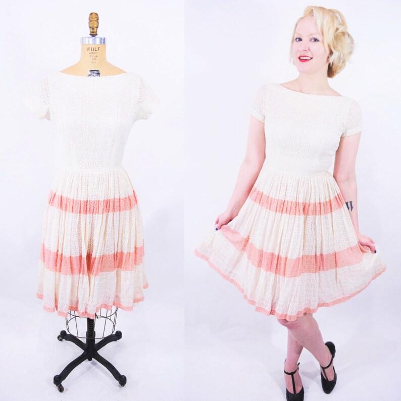 a00e24d85095a 1950s lace dress vintage cream pink stripe party dress W | Etsy