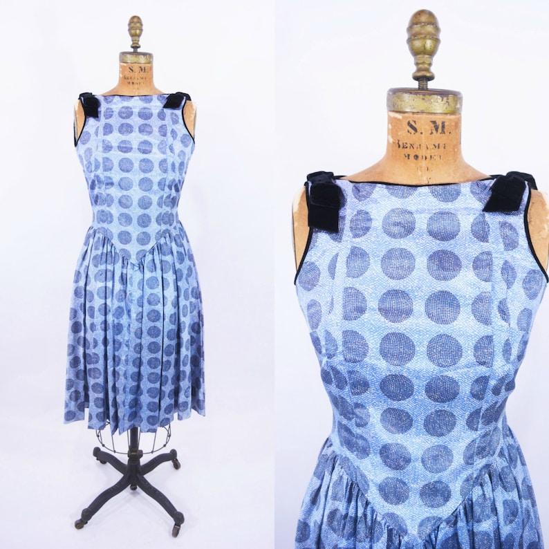 Vintage 1950s Cocktail Dress  Blue Polka Dots Dress  W image 0