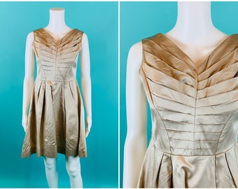 "Vintage 1950s Cocktail Dress   AS IS Beige Parklane Pintuck Bodice Dress   W 28"""