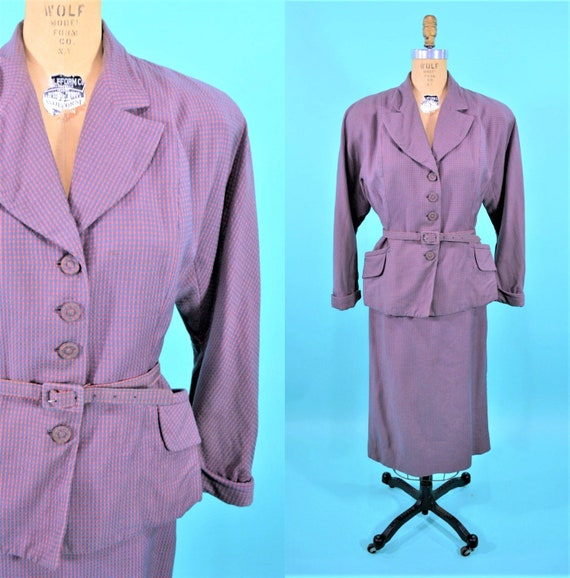 Vintage 1940s Pink Suit | Gray Checkered Fitted Wo