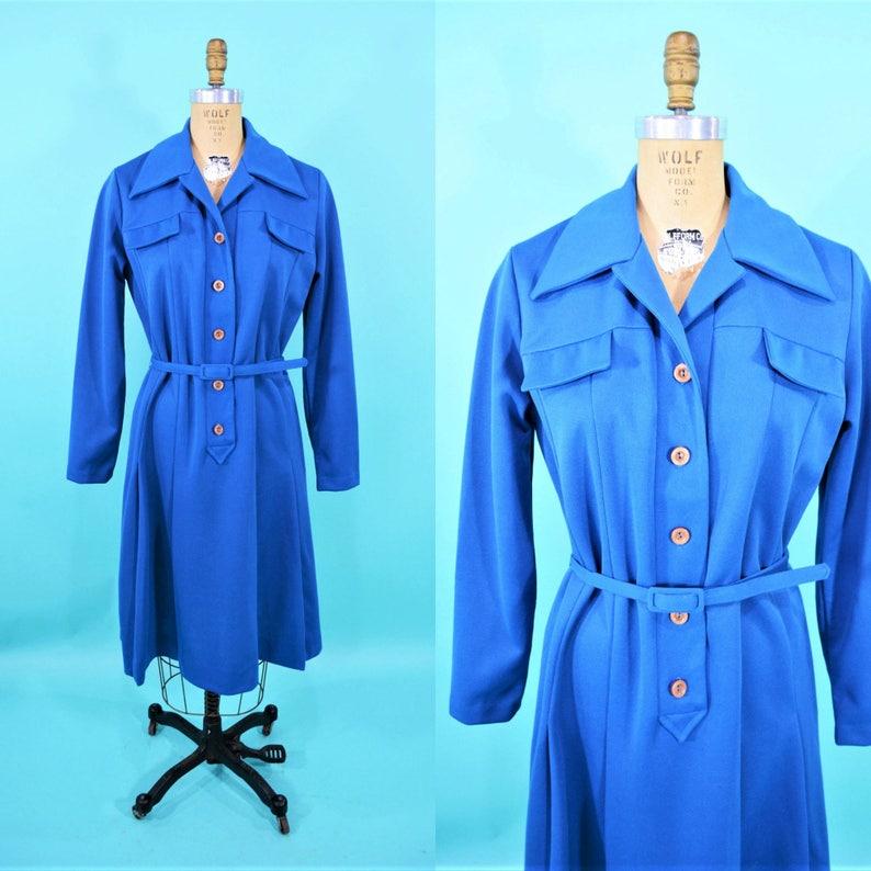 Vintage 1970s Dress  Cobalt Lillian Russell Blue Day image 0
