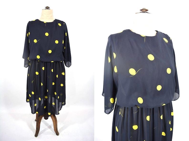 Vintage 1980s Dotted Dress  Black Yellow Circle Print Batwing image 0