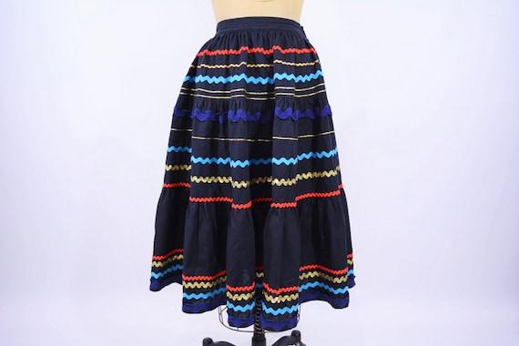 Vintage 1950s Patio Skirt | Black Ric Rac Full Ski