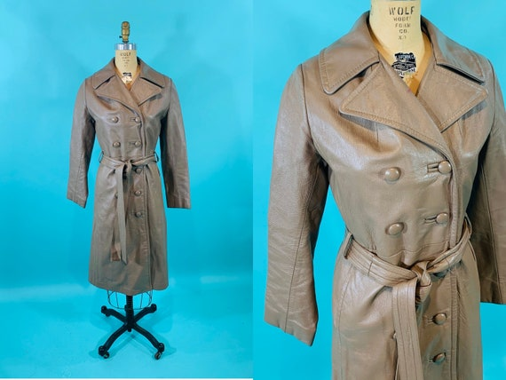 Vintage 1970s Leather Jacket   Taupe Faux Leather… - image 1