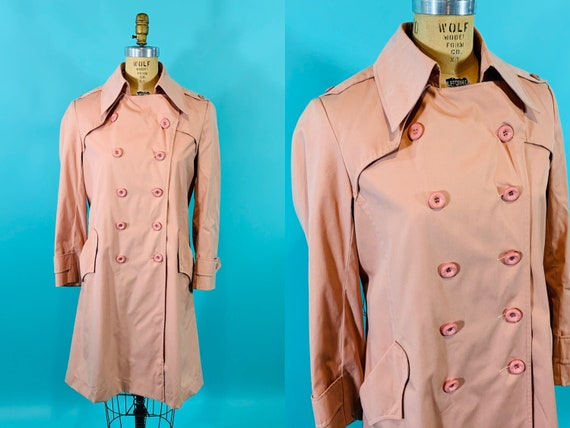 Vintage 1980s Peach Trench | Light Peach Pink Tre… - image 1