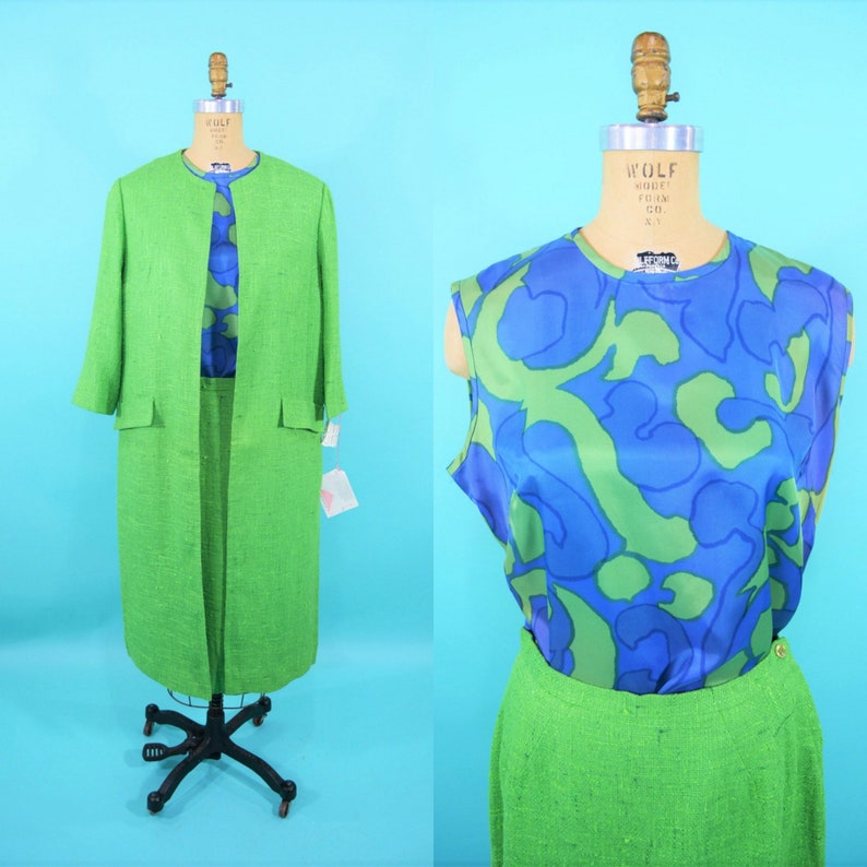 Vintage 1970s Suit Set  Wes-tal Blue Green Printed Shell image 0
