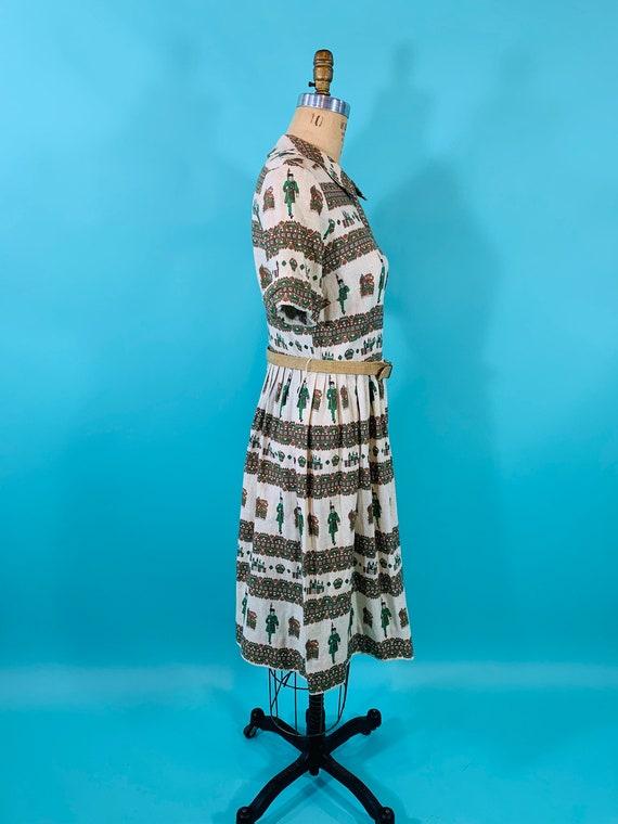 Vintage 1950s Scenic Dress   Novelty Print Cotton… - image 8