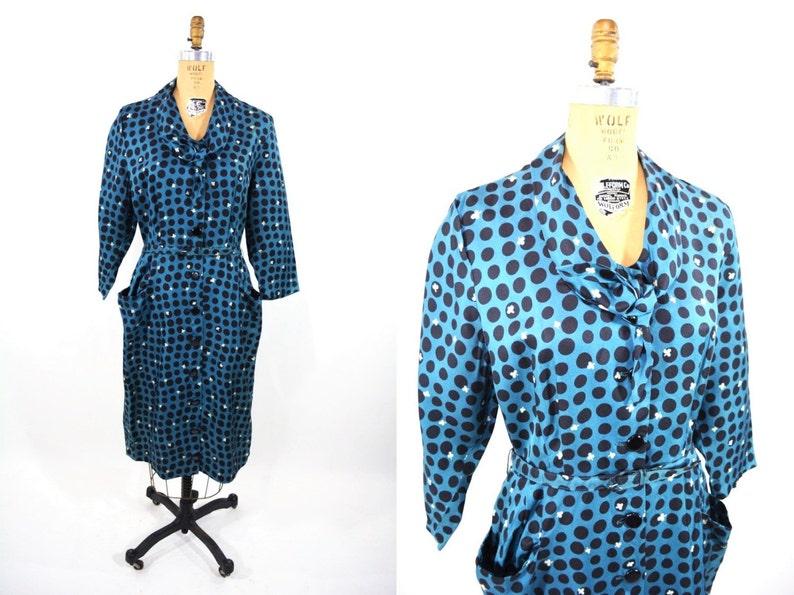 Vintage 1940s Novelty Dress  Blue Clubs Polka Dot Print image 0