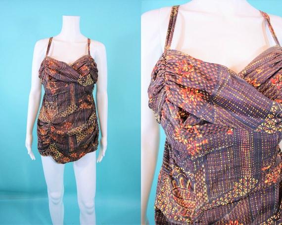 Vintage 1950s Swimsuit | Brown Catalina Hawaiian P